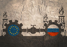 Russia and European Union flags on gears Royalty Free Stock Images