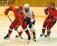 russia för match för hockeyhungary is nationell ungdom Royaltyfri Bild