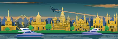 Russia famous landmark in back of river and yacht in scenery design,travel destination,silhouette design, yellow blue and green stock illustration