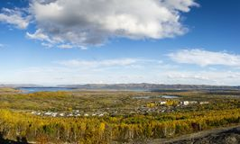Russia far East Khabarovsk region, autumn of the River Amur. Golden autumn in the far east of Russia on the Amur River. Russia far East Khabarovsk region, autumn stock photo