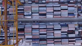 Russia Far East Vladivostok Primorsky commercial port terminal. Transport logistics center. Winter cold day. Snow on containers. From above view Russia Far East stock video