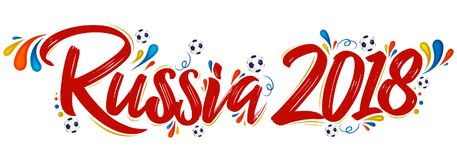 Russia 2018 festive banner, Russian theme event, celebration. Vector lettering design - eps available Royalty Free Stock Images