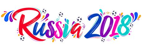 Russia 2018 festive banner, Russian theme event. Celebration vector lettering design - eps available Stock Photos