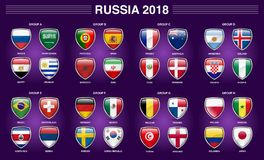 Russia 2018 Fifa World Cup Group Country Flag Icon. Fifa world cup Russia 2018, 32 country separated in 8 groups with shield 3D icon Royalty Free Stock Photos