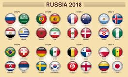 Russia 2018 Fifa World Cup Group Icon. Fifa world cup 2018 Russia group tournament by country groups, 32 Country separated in 8 groups Football world cup Stock Images