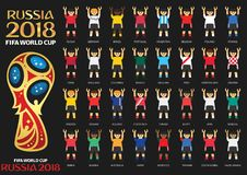 Russia 2018, Fifa World Cup team jerseys. Illustrated athletes wearing team jerseys for countries participating in Russia 2018 FIFA World Cup on black vector illustration