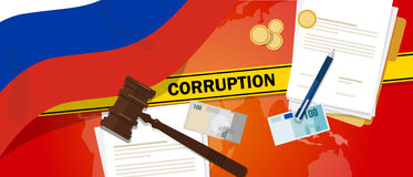 Russia fights corruption money bribery financial law contract police line for a case scandal government official. Vector Stock Images