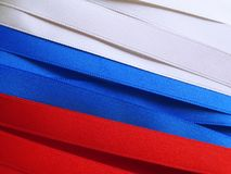 Russia flag or banner. Made with red, blue and white ribbons Stock Photo