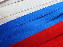 Russia flag or banner. Made with red, blue and white ribbons Royalty Free Stock Photography