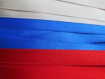 Russia flag or banner. Made with red, blue and white ribbons Stock Images