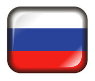 Russia Flag Button 3d effect isolated in white Royalty Free Stock Photo