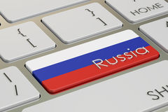 Russia flag button on keyboard, 3D rendering Stock Image