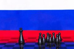 Russia Flag Chess as a policy 15. Russia Flag Elections Chess as a policy Royalty Free Stock Image