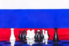 Russia Flag Chess as a policy 22. Russia Flag Elections Chess as a policy Royalty Free Stock Image