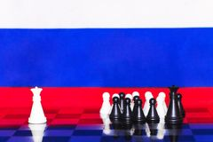 Russia Flag Chess as a policy 23. Russia Flag Elections Chess as a policy Stock Images