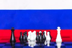 Russia Flag Chess as a policy 21. Russia Flag Elections Chess as a policy Royalty Free Stock Image