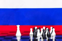 Russia Flag Chess as a policy 19. Russia Flag Elections Chess as a policy Royalty Free Stock Image