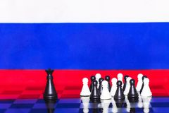 Russia Flag Chess as a policy 20. Russia Flag Elections Chess as a policy Royalty Free Stock Image