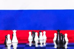 Russia Flag Chess as a policy 25. Russia Flag Elections Chess as a policy Royalty Free Stock Image