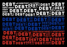 Russia Flag Collage of Debt Word Items. Russia state flag concept created of debt word design elements. Vector debt word elements are united into geometric Stock Image