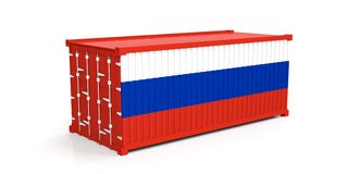 Russia flag on container. 3d illustration Stock Image