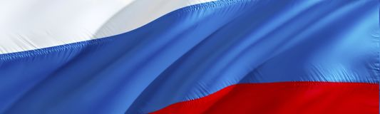 Russia flag. 3D rendering Waving flag design. The national symbol of Russian. 3D Waving sign design. Waving sign background. Wallpaper. Russia 3D pattern stock image