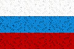 Russia flag decorated with soccer symbols. Russian country colors background with football elements. Royalty Free Stock Images