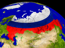 Russia with flag on Earth Stock Photography
