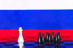 Russia Flag Chess as a policy 12. Russia Flag Elections Chess as a policy Stock Photos