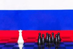 Russia Flag Chess as a policy 13. Russia Flag Elections Chess as a policy Stock Image