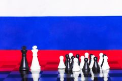 Russia Flag Chess as a policy 17. Russia Flag Elections Chess as a policy Royalty Free Stock Image