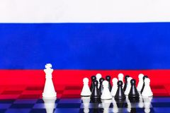 Russia Flag Chess as a policy 16. Russia Flag Elections Chess as a policy Royalty Free Stock Photos
