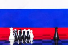 Russia Flag Chess as a policy 24. Russia Flag Elections Chess as a policy Stock Photography