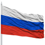 Russia Flag on Flagpole Royalty Free Stock Photo