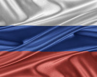 Russia flag with a glossy silk texture. Royalty Free Stock Photos