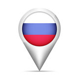 Russia flag map pointer with shadow. Vector illustration Royalty Free Stock Photo