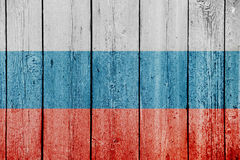 Russia flag on old wooden background. russian symbol on wooden wall Stock Photography