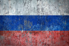 Russia Flag painted on a Wall. Ddistressed Painting of a Flag on an old Wall Stock Photography
