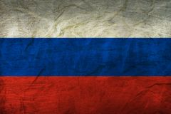 Russia Flag on Papaer. Flag on an old Paper Texture Royalty Free Stock Image