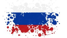 Russia Flag Reveal With Paint Brush Splatter Mask