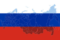 Russia flag with russia map. Stock Photography