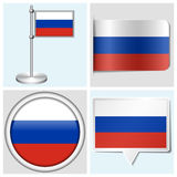 Russia flag - set of sticker, button, label. Russia flag - set of various sticker, button, label and flagstaff Royalty Free Illustration