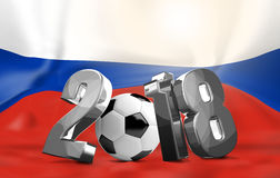 2018 russia flag silver soccer symbol. Illustration graphic Royalty Free Stock Image