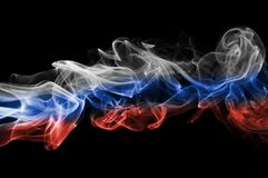 Russia flag smoke. On a black background Stock Image