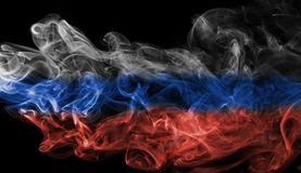 Russia flag smoke. On a black background Royalty Free Stock Photos