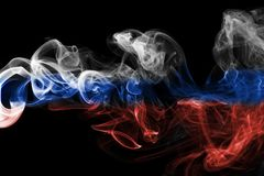 Russia flag smoke. Isolated on black background Royalty Free Stock Photos