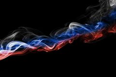 Russia flag smoke. Isolated on a black background Stock Photos