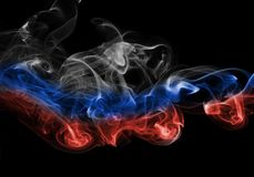 Russia flag smoke. Isolated on a black background Stock Images