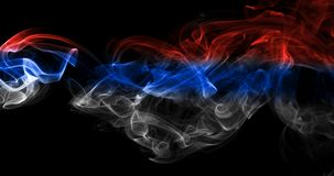 Russia flag smoke. Isolated on a black background Royalty Free Stock Photos