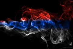 Russia flag smoke. Isolated on a black background Royalty Free Stock Image